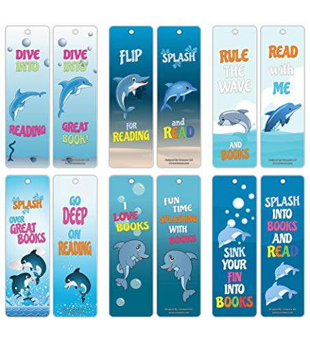 Creanoso Reading Encouragement Dolphin Theme Bookmarks for Kids (60-Pack) - Encouraging Words to Motivate Young Readers - Premium Gift Stocking Stuffers for Boys and Girls]()