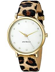 WRISTOLOGY Olivia Womens Chunky Gold Boyfriend Watch Leopard Leather Strap OC001