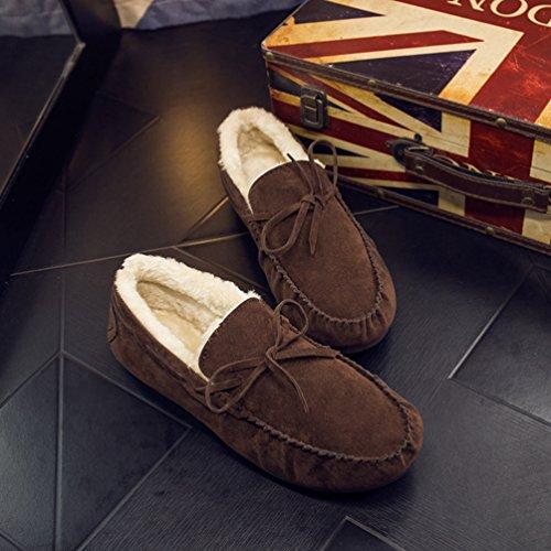 Scarpe Barca Dooxi Moda Foderato Loafers da Uomo Marrone Comfort Piatto Bowknot Inverno Stivali Caloroso Neve BwqPxwfaU