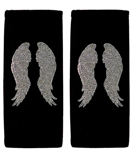 ALLBrand Car Truck Crystal Bling Rhinestone Studded Seat Belt Cover Shoulder Pad Cushion - Pair (Angel Wing/Black) (Black Belt Angels)
