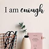 Vinyl Wall Art Decal - I Am Enough - 5' x 15' - Modern Inspirational Self Worth Love Quote for Home Bedroom Bathroom Dressing Table Mirror Office Decoration Sticker