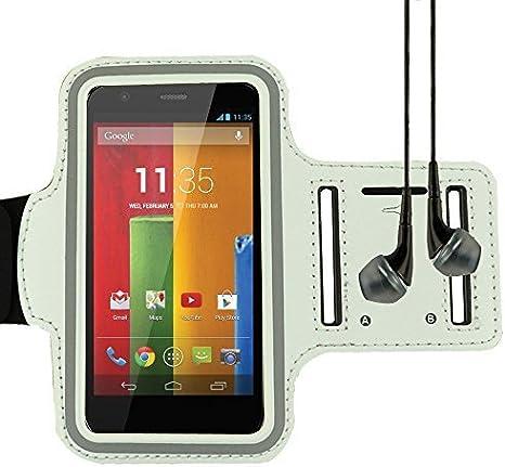 Adjustable Neoprene Workout Armband for Mototola Moto E e / Moto G / Moto G / Motorola Droid RAZR and more MOTOROLA smartphone (White) by eBigValue: Amazon.es: Deportes y aire libre