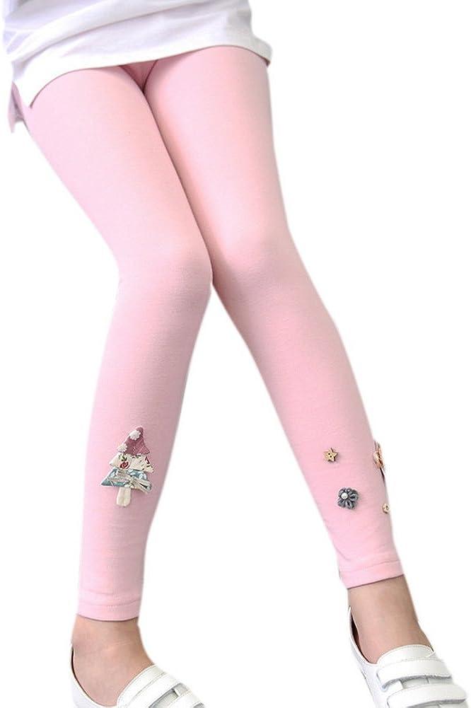 COLINNA Girls Cotton Cute Cartoon Embroidered Elastic Waist Stretchy Leggings Pants