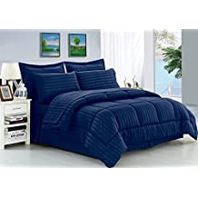 Elegant Comfort Dobby Stripe Bed-In-A-Bag 8-Piece Comforter Set -- Full/Queen, Navy Blue