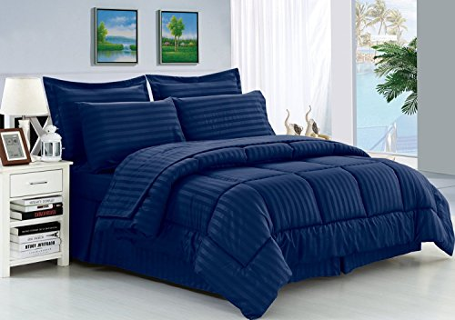 Elegant Comfort Wrinkle Resistant - Luxury Silky Soft Dobby Stripe Bed-in-a-Bag 8-Piece Comforter Set --HypoAllergenic - King Navy Blue