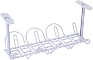 Under Desk Cable Wire Management Tray, Self Adhesive Cable Tidy Basket, Cable Organizer Rack with Hanging Basket for Desk Office Kitchen