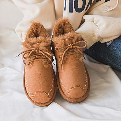 Shukun Botines Botas de Nieve de Invierno Zapatos Femeninos de algodón y Nieve para Mujeres Zapatos
