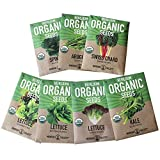 Organic, Heirloom, Non-GMO, Garden Seeds – 7 Varieties of Vegetable Leafy Power Greens – Arugula, Kale, Lolla Rossa Lettuce, Buttercrunch Lettuce, Gourmet Mix Lettuce, Spinach, Swiss Chard