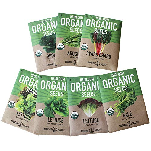 - Organic, Heirloom, Non-GMO, Garden Seeds - 7 Varieties of Vegetable Leafy Power Greens - Arugula, Kale, Lolla Rossa Lettuce, Buttercrunch Lettuce, Gourmet Mix Lettuce, Spinach, Swiss Chard