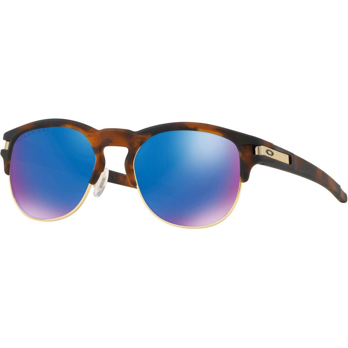 Oakley Men's OO9394 Latch Key Round Sunglasses, Matte Brown Tortoise/Sapphire Iridium Polarized, 52 mm by Oakley
