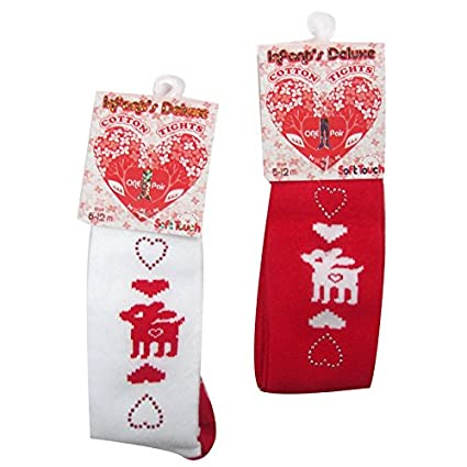 Christmas Tights with Reindeer with sparkly heart decoration (0-6 Months, Red) Soft Touch