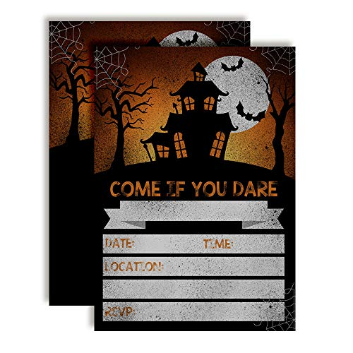 Come If You Dare Spooky Halloween Haunted House Party Invitations, 20 5