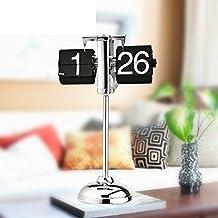 European-style retro auto flip clock mechanical clock desk clock creative telescoping Rod clock living room set the pendulum-A