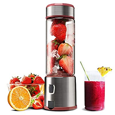 Personal Glass Smoothie Blender, Kacsoo USB Rechargeable Portable Blender Juicer Cup, Single Serve Fruit Mixer, Multifunctional Small Travel Blender for Shakes and Smoothies, FDA BPA Free(Red)