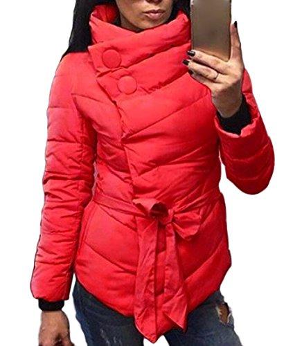 Caldo Rosso Cotone Atree Imbottitura Invernale Autunno Capospalla Donne Asimmetria SYSFwvqzx