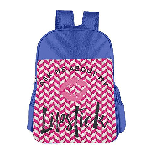 Mokjeiij Ask Me About My Lipstick Unisex Girls Boys School Backpack Children's (Best Lipsticks In India With Price)