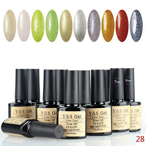 Kit 28 Pcs Match - Y&S Colors Gel Polishes 10ml 0.33oz UV/LED Light Soak Off Perfect Match Nail Lacquers 12 PCS French Manicure Starter Kit #28