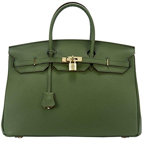Cherish Kiss 40cm Oversized Padlock Business Office Top Handle Handbags (40cm with Gold Hardware, Dark Green) by Cherish Kiss