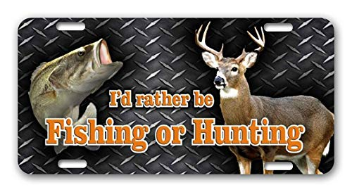 BLINYS Funny License Plate Cover with 4 Holes - I'd Rather Be Fishing Or Hunting - Decorative Metal Car License Plate Auto Tag 6 x 12 Inch