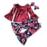 3pcs/Set Girl Off-Shoulder Tops+Bell-Bottom Trousers+Matching Hairband(110cm)