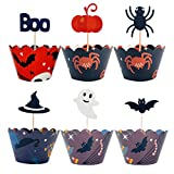 SUNHE 24 Pieces Halloween Style Cupcake Wrappers and 24 Pieces Halloween Party Cupcake Toppers Picks Mini Pumpkin Spider Ghost Hat Bats Boo for Halloween Party Cake Decoration