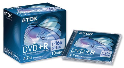 Tdk- Dvd+r Recordable Disk Write-once Cased 16x Speed 120min 4.7gb Ref Dvdr4716x10 [pack 10]