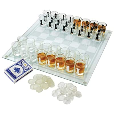 Maxam SPCHESS2 3-in-1 Shot Glass Chess Set, NA