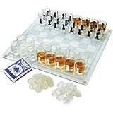 Maxam SPCHESS2 3-in-1 Shot Glass Chess Set, NA