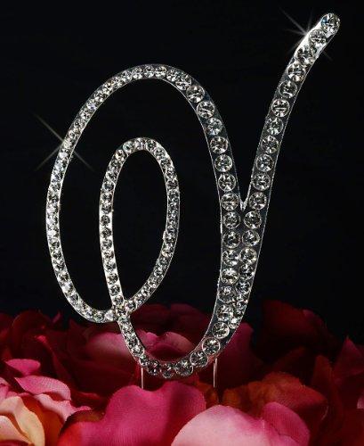 Unik Occasions Victorian Crystal Rhinestone Wedding Cake Topper, Small, Letter V, - Monogram Rhinestone Small