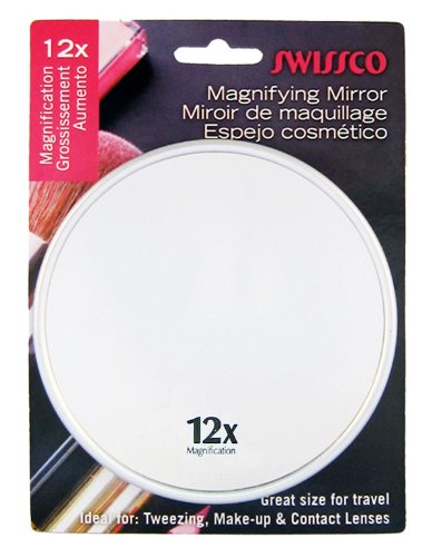 (Swissco Suction Cup Mirror, Metallic Color, 5 Inches, 12x)