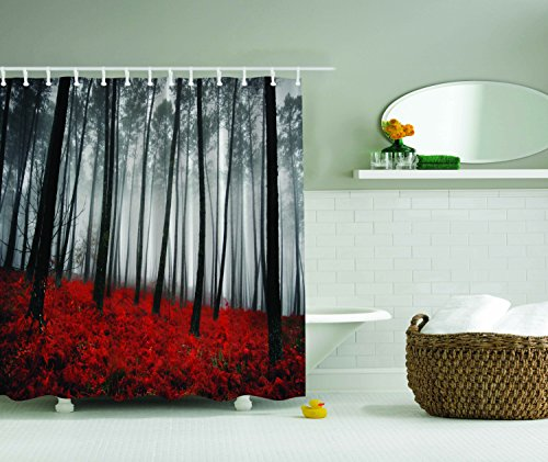 Ambesonne Fabric Shower Curtain Farmhouse Country Home Woodland Decor, Mystic Forest Trees and Leaves Red Grass Modern Art Flower Rainy Foggy Gray Scene Print, 69x70 Inches Long, Black and ()
