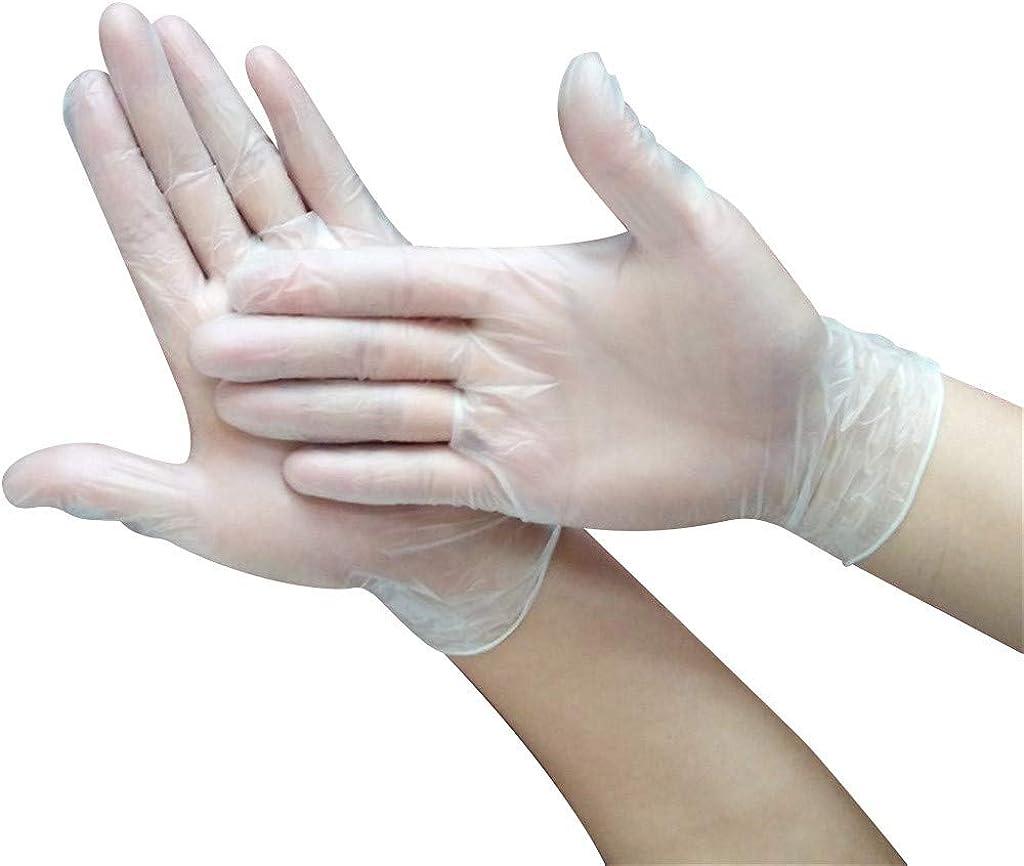 ZYAPCNGN Disposable Gloves Durable Gloves Elastic Gloves Rubber Powder-Free PVC Transparent Gloves 100PCS
