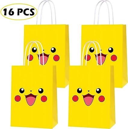 Pikachu 16 Pack Pokemon Party Plastic Loot Treat Candy Favor Bags Plus Party...