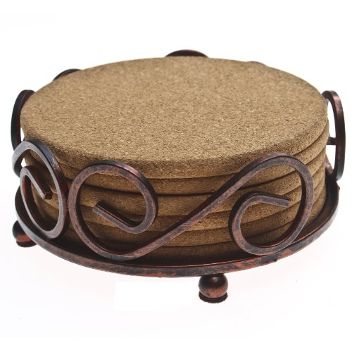 Thirstystone Cork Coasters with Holder,