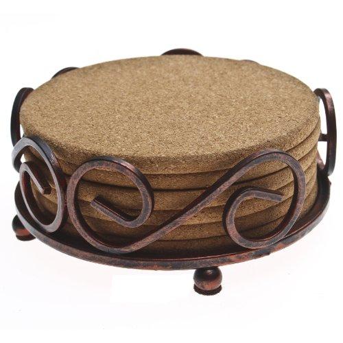Decorative Caddy Florida - Thirstystone Cork Coasters with Holder, Tan