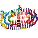ZHX 240pcs Wooden Domino Block Set With 12 pcs Special Projects,12 Colors Tiles Educational Toys Racing Toy Game For Kids