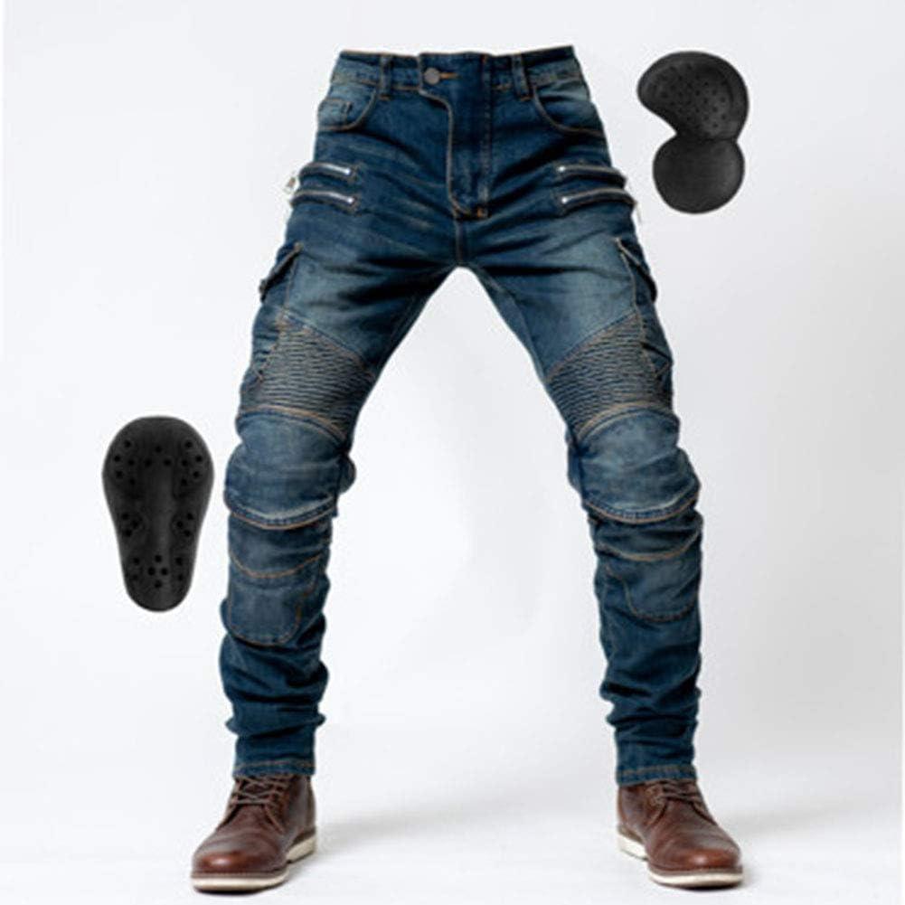 LSSLA Pantalons De Moto pour Hommes Jean Moto Pantalon Moto Jeans D/équitation Anti-Chute Jeans De Moto Pantalon De Course Tout-Terrain,Bleu,L