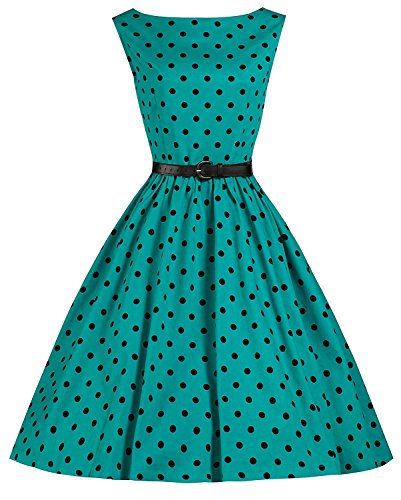 Lindy-Bop-Audrey-Turquoise-Polka-Dot-Vintage-1950s-Inspired-SwingJive-Dress-6XL-Turquoise