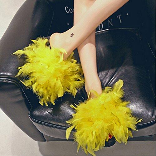Fur Flip Flops Women Fur Furry Slippers Ostrich Feather Flats Sandal Home Slippers Summer Beach Slipper Shoes Yellow AaWc5