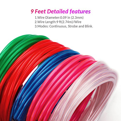 Zitrades EL Wire Kit 9ft, Portable Neon Lights for Parties, Halloween, Blacklight Run, DIY Decoration (5 Pack, Each of 9ft, Red, Green, Pink, Blue, White) by Zitrades (Image #1)