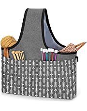 YARWO Yarn Storage Tote, Knitting Project Wrist Bag for Yarn Skeins, Knitting Needles, WIP Projects and Other Knitting Supplies, Gray with Arrow (Bag Only)