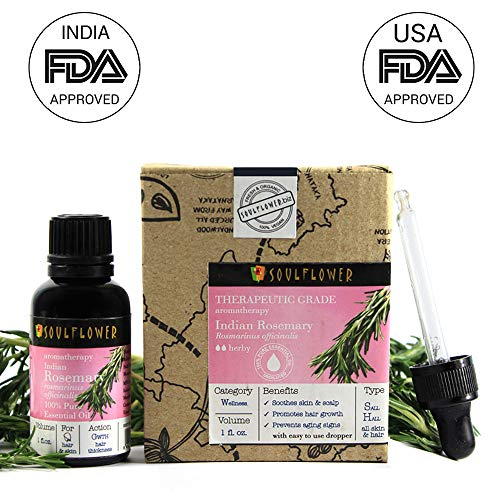 (Rosemary Essential Oil by Soulflower, 100% Pure and Natural Undiluted,USFDA approved,Therapeutic Grade,Premature Greying & Memory Enhancement -Safe & Organic|Aromatherapy|1 FL.OZ BONUS Glass Dropper)