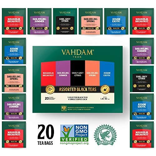 Vahdam, Black Tea Sampler, 5 Teas - Tea Variety Pack | Assorted Black Tea Bags | English Breakfast, Darjeeling, Assam, Earl Grey Tea Bags | 20 Count | Finest Tea Gift Set & Tea Gift For Tea Lovers (Lovers Tea Gift Set)
