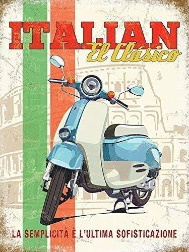 Italiano El Clasico. Azul y blanco Vespa. Clásico ciclomotor ...