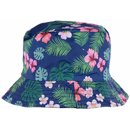 BYOS Fashion Packable Reversible Black Printed Fisherman Bucket Sun Hat, Many Patterns (Vintage Cherry Blossom (Floral Reversible Hat)