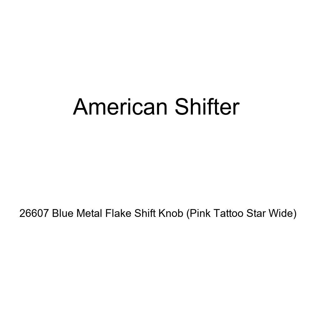 American Shifter 26607 Blue Metal Flake Shift Knob Pink Tattoo Star Wide