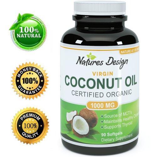 # 1 Pure & Organic huile de coco, plus haut grade et qualité Capsules (meilleurs suppléments) - Certifié Force complet - 100% sûr et naturel, formule Premium et garantis par Natures Conception