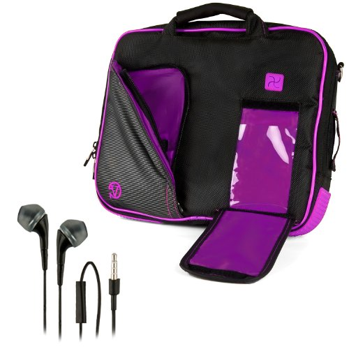 - VanGoddy Pindar Sling BLACK PURPLE PLUM Pro Deluxe Shoulder Messenger Carrying Bag for Apple MacBook Air 11' & MacBook 12