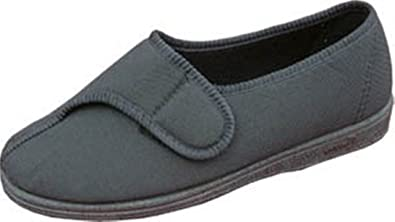 a54cba182324 Sleepers ARTHUR Mens Stretchy Super Wide Velcro Slippers Black   Amazon.co.uk  Shoes   Bags