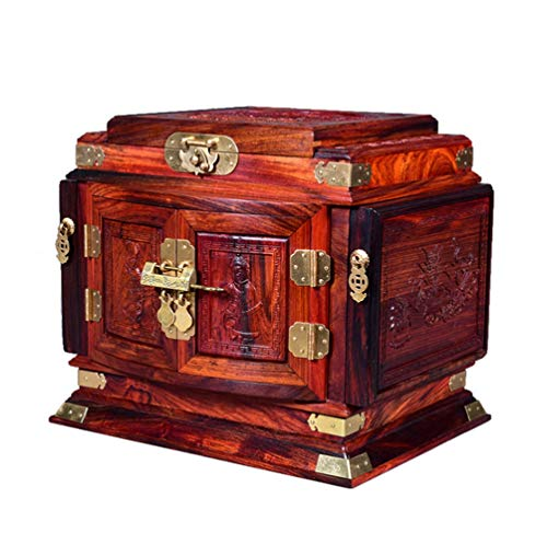 - LIJIANGUO Mahogany Jewelry Box-Home Wood Lock Storage Box-Antique Marriage Doll-Retro Jewelry Box